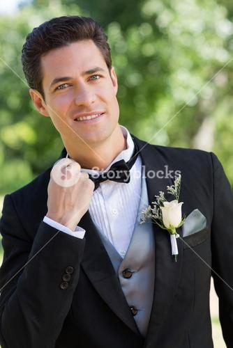 Portrait of nervous bridegroom