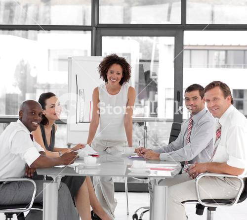 Female business woman giving a presentation