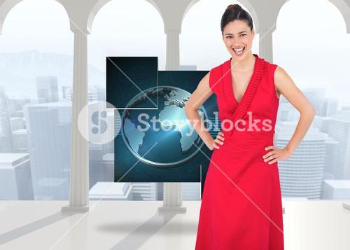 Composite image of happy elegant model in red dress posing