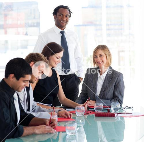 Businessman working with his team
