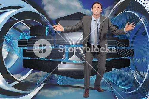 Composite image of businessman standing with arms out