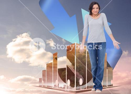 Composite image of clueless young woman