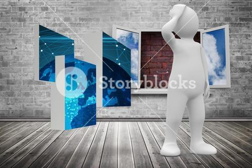 Composite image of white character thinking