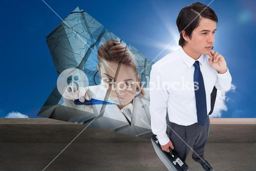 Composite image of young tradesman with his jacket and suitcase