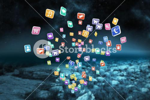 Composite image of colourful computer applications