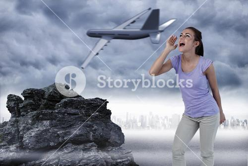 Composite image of young female yelling