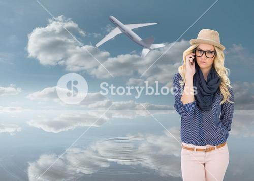 Composite image of serious trendy blonde on the phone