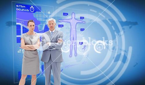 Composite image of businessman posing with work colleague