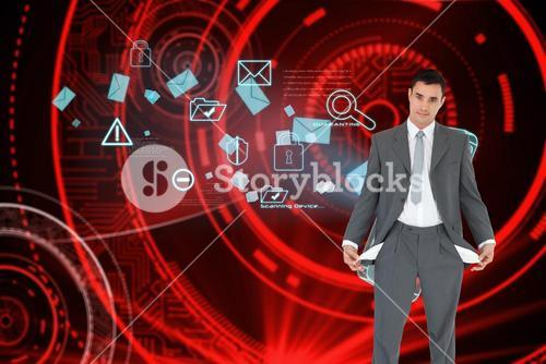 Composite image of businessman with empty pockets