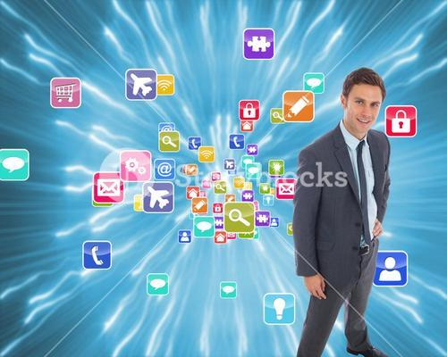 Composite image of cheerful businessman standing with hand on hip