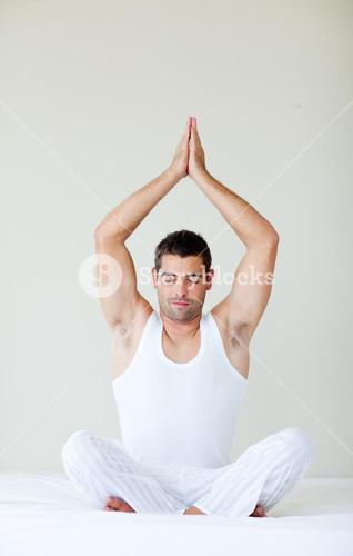 Man sitting in meditaion pose