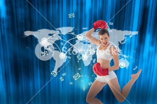 Composite image of motivated fit brown haired model in sportswear jumping