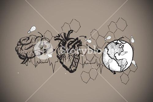 Composite image of earth lungs and heart doodle