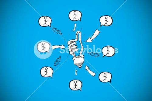Composite image of light bulb doodle with stick figures