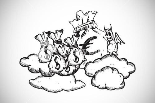 Composite image of devil with money bags doodle