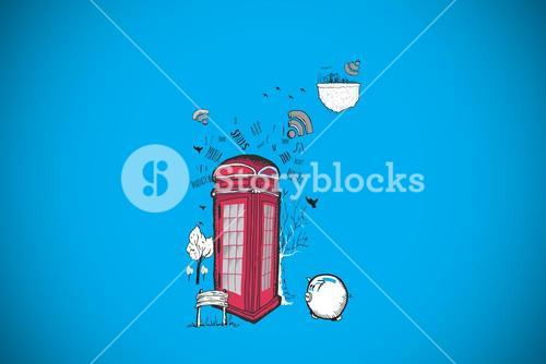 Composite image of phone box doodle