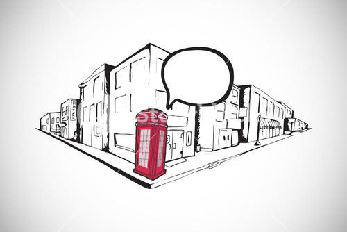 Composite image of phone box on street doodle