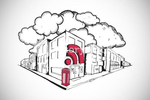 Composite image of phone box with wifi on street doodle