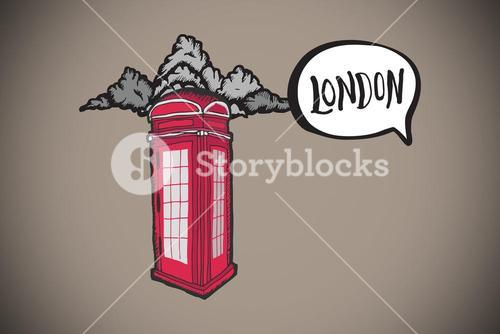 Composite image of london doodle with phone box
