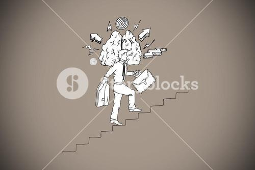 Composite image of businessman climbing stairs