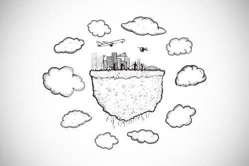 Composite image of cloud computing with cityscape doodle