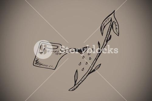 Composite image of watering can doodle