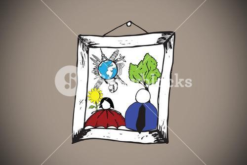 Composite image of doodles in a picture frame