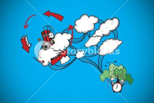 Composite image of dynamite and cloud computing doodle