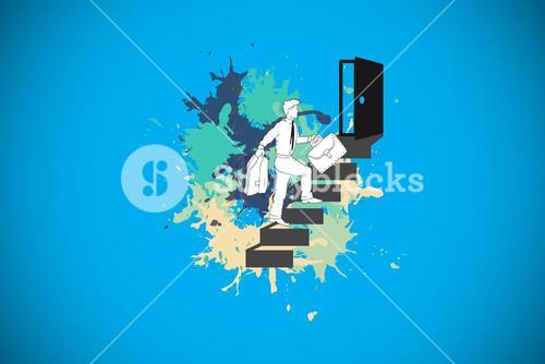 Composite image of career progression concept on paint splashes