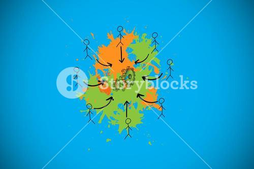 Composite image of human resources concept on paint splashes