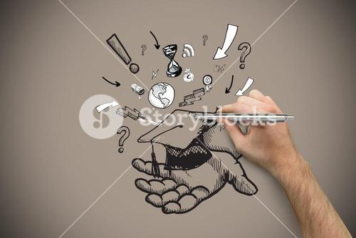 Composite image of hand holding a silver pen