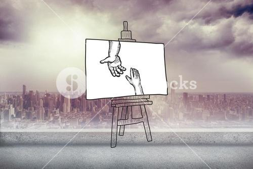 Composite image of hands joining doodle on easel