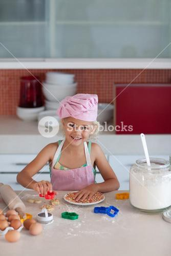 Nice girl baking in at home
