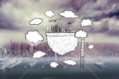 Composite image of cloud computing with cityscape and ladder doodle