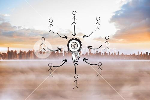 Composite image of first place doodle with stick figures