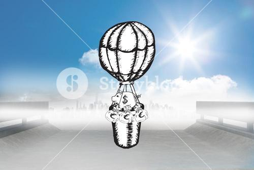 Composite image of cash in hot air balloon doodle