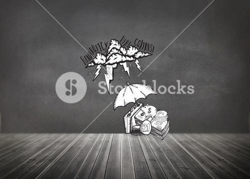 Composite image of umbrella protecting money from debt storm