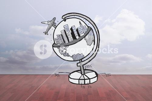 Composite image of travel and tourism doodle