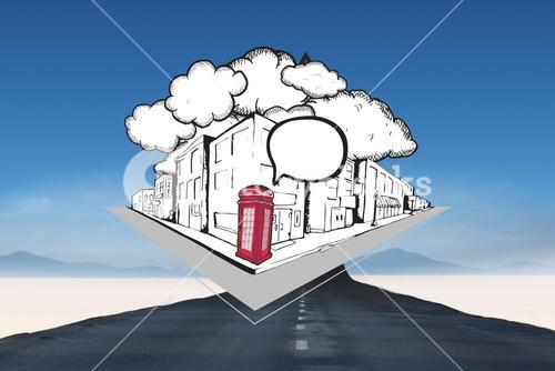 Composite image of phone box with speech bubble on street doodle