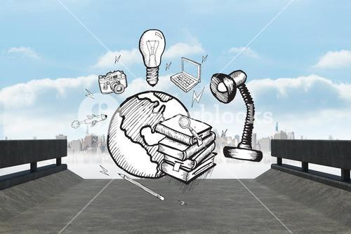 Composite image of global education doodle