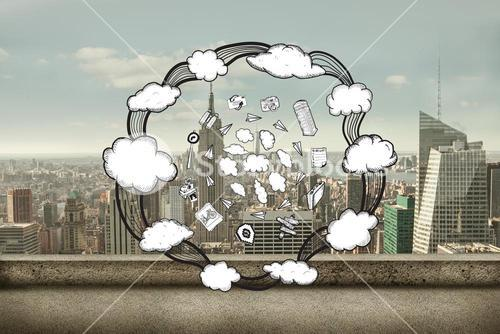 Composite image of cloud computing doodles