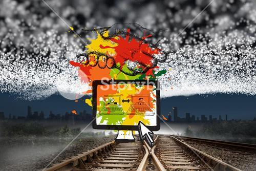 Composite image of business video chat on paint splashes