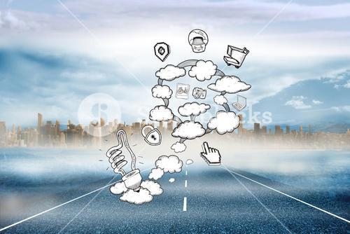 Composite image of cloud computing doodle