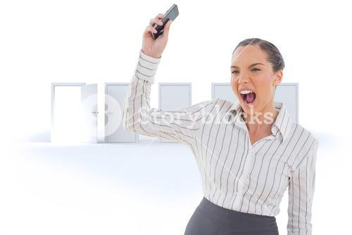 Composite image of offended businesswoman screaming and throwing her mobile phone