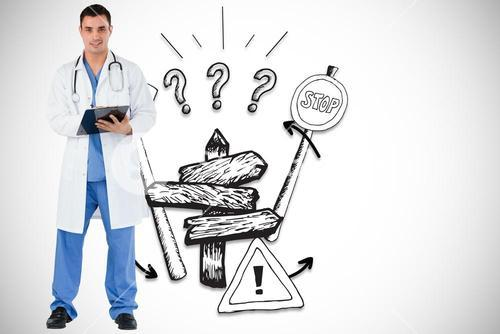 Composite image of doctor with a clipboard