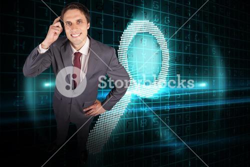 Composite image of thinking businessman scratching head