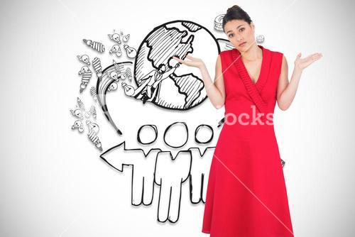 Composite image of hesitant elegant brunette in red dress posing