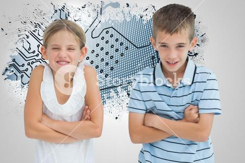 Composite image of smiling brother and sister posing together