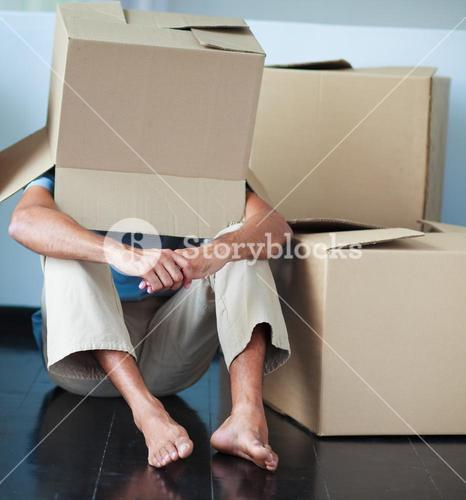 Father playing with an empty box