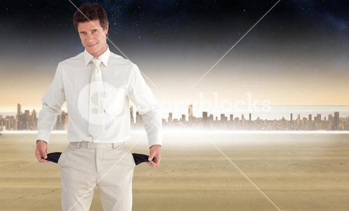 Composite image of positive businessman looking at the camera